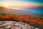 Autumn sunrise on the slope of Grandfather Mountain
