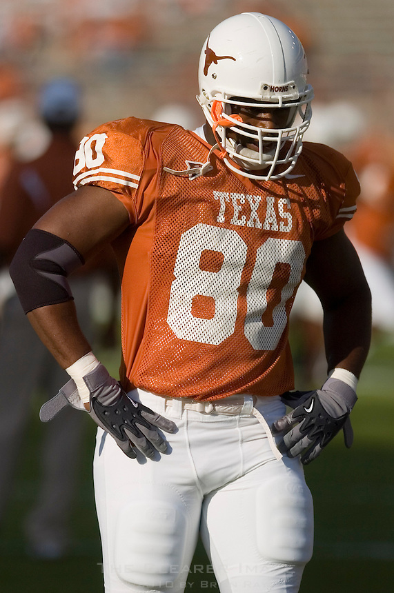 30 September 2006: Texas defensive end Tim Crowder warms up before the Longhorns 56-3 victory over the Sam Houston State Bearkats at Darrell K Royal Memorial Stadium in Austin, TX.