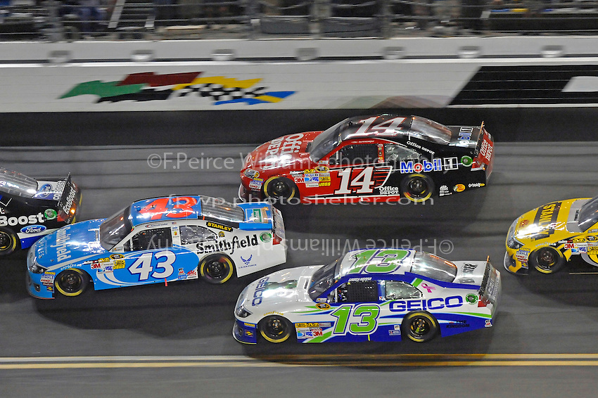 Aric Almirola (#43) gets sideways after tagging Ricky Stenhouse, Jr. (#6). Tony Stewart (#14), Casey Mears (#13).