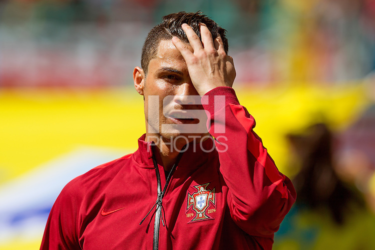 Cristiano Ronaldo of Portugal looks dejected