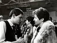 Montreal (QC) CANADA - December 1st , 1984 file photo - <br /> Nadia Assimopoulos<br />  (R) get interviwed while<br /> The Parti Quebecois (PQ) Loose 1985 Provincial election