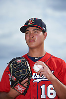 Brevard County Manatees starting pitcher Kodi Medeiros (16) poses for a photo before a game against the Lakeland Flying Tigers on April 20, 2016 at Henley Field in Lakeland, Florida.  Lakeland defeated Brevard County 5-2.  (Mike Janes/Four Seam Images)