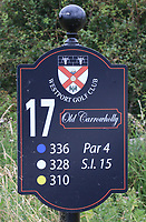 New sign at the 17th tee during the Preview of the AIG Cups & Shields Connacht Finals 2019 in Wesport Golf Club, Westport, Co. Mayo on Thursday 8th August 2019.<br /> <br /> Picture:  Thos Caffrey / www.golffile.ie<br /> <br /> All photos usage must carry mandatory copyright credit (© Golffile | Thos Caffrey)