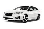 Stock pictures of low aggressive front three quarter view of 2018 Subaru Impreza Premium 5 Door Hatchback Low Aggressive