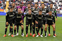 Malaga CF´s goalkeeper Idriss Carlos Kameni, Weligton Robson, Samuel Garcia Sanchez, Ricardo Horta, Juan Miguel Jimenez, Jose Luis Garcia del Pozo, Marcos Alberto Angeleri, Roberto Jose Rosales, Miguel Torres Gomez, Samuel Castillejo and Sergi Darder during 2014-15 La Liga match between Rayo Vallecano and Malaga CF at Rayo Vallecano stadium in Madrid, Spain. March 21, 2015. (ALTERPHOTOS/Luis Fernandez) <br /> Football Calcio 2014/2015<br /> La Liga Spagna<br /> Foto Alterphotos / Insidefoto