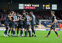 Lincoln City's Harry Anderson celebrates scoring his side's first goal with team-mate <br /> <br /> Photographer Andrew Vaughan/CameraSport<br /> <br /> The EFL Sky Bet League Two - Port Vale v Lincoln City - Saturday 13th October 2018 - Vale Park - Burslem<br /> <br /> World Copyright © 2018 CameraSport. All rights reserved. 43 Linden Ave. Countesthorpe. Leicester. England. LE8 5PG - Tel: +44 (0) 116 277 4147 - admin@camerasport.com - www.camerasport.com