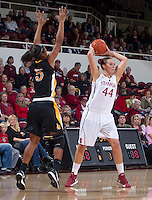 Long Beach States Jade Wilson, guards Stanford's Joslyn Tinkle, during Saturday, November 25, 2012 game at Stanford. Stanford won 77-41.