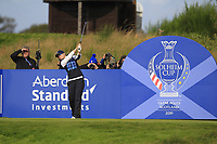 Jodi Ewart Shadoff of Team Europe on the 6th tee during Day 1 Foursomes at the Solheim Cup 2019, Gleneagles Golf CLub, Auchterarder, Perthshire, Scotland. 13/09/2019.<br /> Picture Thos Caffrey / Golffile.ie<br /> <br /> All photo usage must carry mandatory copyright credit (© Golffile | Thos Caffrey)