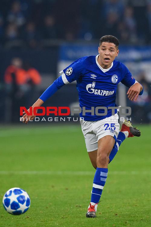 11.12.2018, VELTINS Arena, Gelsenkirchen, Deutschland, GER, UEFA Champions League, Gruppenphase, Gruppe D, FC Schalke 04 vs. FC Lokomotiv Moskva / Moskau<br /> <br /> DFL REGULATIONS PROHIBIT ANY USE OF PHOTOGRAPHS AS IMAGE SEQUENCES AND/OR QUASI-VIDEO.<br /> <br /> im Bild Amine Harit (#25 Schalke)<br /> <br /> Foto © nordphoto / Kurth