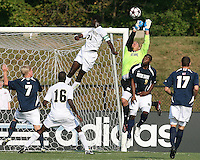 04 September 2009:Andrew Quinn #0  of the University of Notre Dame makes a save from Ike Opara #23 of Wake Forest University during an Adidas Soccer Classic match at the University of Indiana in Bloomington, In. The game ended in a 1-1 tie..