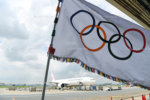General view, <br /> AUGUST 24, 2016 : The Olympic flag welcoming ceremony at Haneda Airport in Tokyo, Japan. The Olympic flag was passed to new Tokyo governor Yuriko Koike from IOC President at the Rio de Janeiro 2016 Olympic Games closing ceremony on August 21. Tokyo will host the 2020 Olympic Games. (Photo by AFLO SPORT)