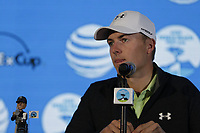 Jordan Spieth (USA) press conference during Wednesday's Pracitce Day of the 2018 AT&amp;T Pebble Beach Pro-Am, held over 3 courses Pebble Beach, Spyglass Hill and Monterey, California, USA. 7th February 2018.<br /> Picture: Eoin Clarke | Golffile<br /> <br /> <br /> All photos usage must carry mandatory copyright credit (&copy; Golffile | Eoin Clarke)