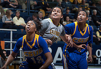 Justine Hartman of California in action during the game against Bakersfield at Haas Pavilion in Berkeley, California on December 15th, 2013.  California defeated Bakersfield Roadrunners, 70-51.