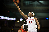 SPOKANE, WA - MARCH 30, 2013: Chiney Ogwumike makes two during the third round NCAA Championships game matching Stanford vs Georgia at the Spokane Arena. The Cardinal fell to the Bulldogs 61-59.