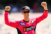 10th February 2019, Melbourne Cricket Ground, Melbourne, Australia; Australian Big Bash Cricket, Melbourne Stars versus Sydney Sixers; Jordan Silk of the Sydney Sixers celebrates saving a boundary