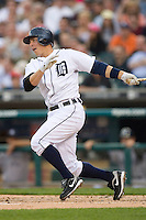 Brandon Inge #15 of the Detroit Tigers follows through on his swing versus the \New York Yankees at Comerica Park April 27, 2009 in Detroit, Michigan.  Photo by Brian Westerholt / Four Seam Images