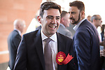 © Joel Goodman - 07973 332324 . 05/05/2017 . Manchester , UK . ANDY BURNHAM is congratulated by AFZAL KHAN after winning the race , at the declaration . The count for council and Metro Mayor elections in Greater Manchester at the Manchester Central Convention Centre . Photo credit : Joel Goodman
