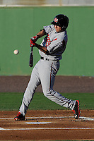 First baseman Jerrud Sabourin (27) of the Carolina Mudcats bats in a game against the Potomac Nationals on Friday, June 21, 2013, at G. Richard Pfitzner Stadium in Woodbridge, Virginia. Potomac won, 5-1. (Tom Priddy/Four Seam Images)