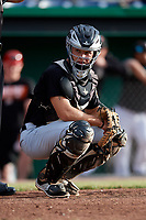 West Virginia Black Bears catcher Paul Brands (19) during a game against the Batavia Muckdogs on June 19, 2018 at Dwyer Stadium in Batavia, New York.  West Virginia defeated Batavia 7-6.  (Mike Janes/Four Seam Images)