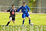 Tralee Dynamos Jonathan Hanafin and Limerick F.C.'s Brian McGorrien.