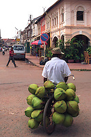 Coconut transport - Going to the Morning Market in Siem Reap by bicycle delivery.  French colonial architecture in the background.