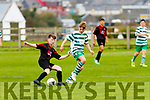 Michael Tansley Park FC controls the ball watched by Oisin Healy Listowel Celtic at the U14 game played in Tanavalla on Saturday