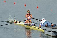 Brest, Belarus. USA. BLW1X,   Lindsay MEYER, as the  the start.  2010. FISA U23 Championships. Thursday,  22/07/2010.  [Mandatory Credit Peter Spurrier/ Intersport Images]