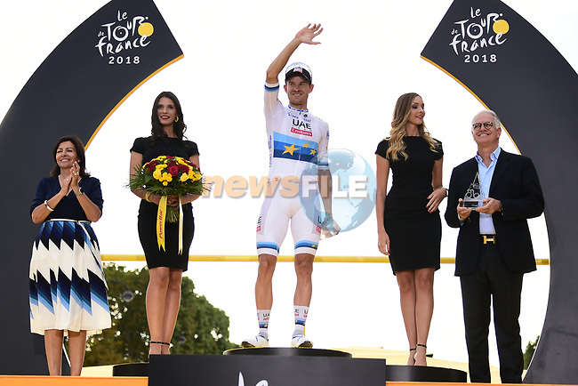 European Champion Alexander Kristoff (NOR) UAE Team Emirates wins Stage 21 of the 2018 Tour de France running 116km from Houilles to Paris Champs-Elysees, France. 29th July 2018. <br /> Picture: ASO/Pauline Ballet | Cyclefile<br /> All photos usage must carry mandatory copyright credit (© Cyclefile | ASO/Pauline Ballet)