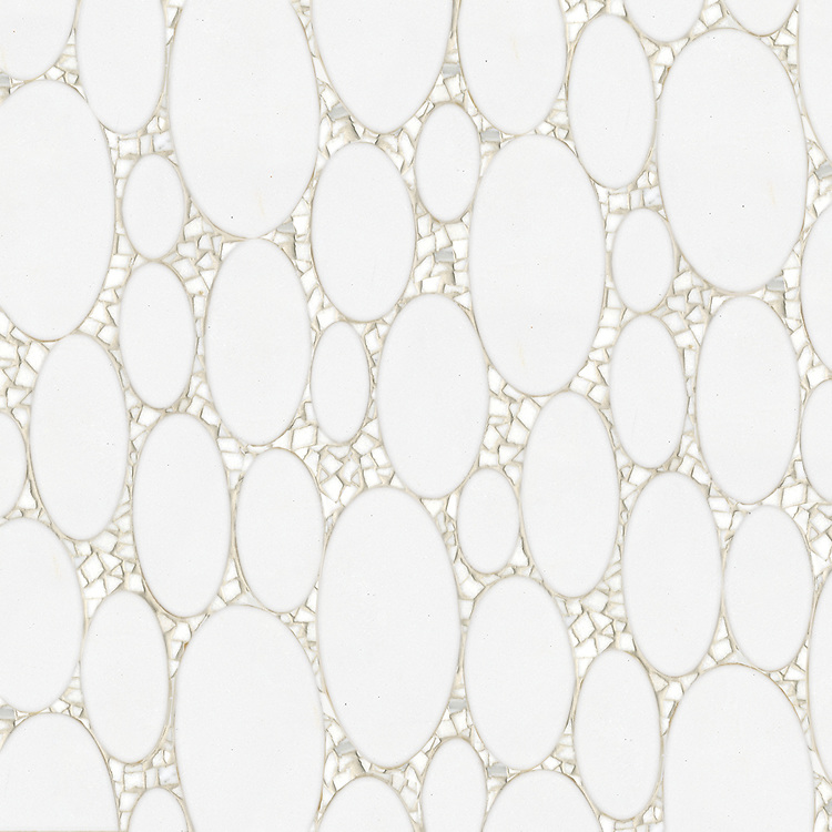 Muna, a waterjet and hand-cut stone mosaic, shown in honed Thassos and polished Calacatta Tia.