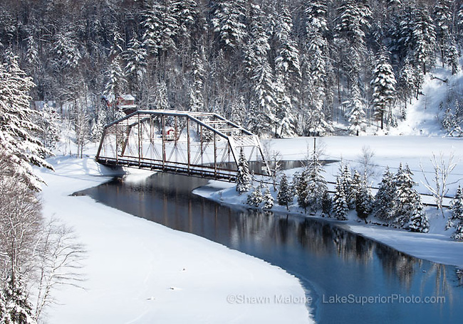 County Road 510 bridge, winter, Marquette County