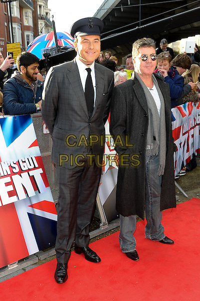 LONDON, ENGLAND - FEBRUARY 11: David Walliams &amp; Simon Cowell  attends Britain's Got Talent London Auditions in Hammersmith on February 11, 2014 in London, England. <br /> CAP/CJ<br /> &copy;Chris Joseph/Capital Pictures