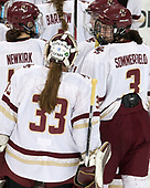 Katie Burt (BC - 33), Bridget McCarthy (BC - 21), Serena Sommerfield (BC - 3) - The number one seeded Boston College Eagles defeated the eight seeded Merrimack College Warriors 1-0 to sweep their Hockey East quarterfinal series on Friday, February 24, 2017, at Kelley Rink in Conte Forum in Chestnut Hill, Massachusetts.The number one seeded Boston College Eagles defeated the eight seeded Merrimack College Warriors 1-0 to sweep their Hockey East quarterfinal series on Friday, February 24, 2017, at Kelley Rink in Conte Forum in Chestnut Hill, Massachusetts.