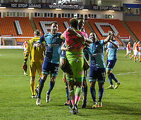 Wycombe Wanderers' Jamal Blackman is mobbed by teammates after his side won the penalty shootout<br /> <br /> Photographer Alex Dodd/CameraSport<br /> <br /> Checkatrade Trophy Round 3 Blackpool v Wycombe Wanderers - Tuesday 10th January 2017 - Bloomfield Road - Blackpool<br />  <br /> World Copyright &copy; 2017 CameraSport. All rights reserved. 43 Linden Ave. Countesthorpe. Leicester. England. LE8 5PG - Tel: +44 (0) 116 277 4147 - admin@camerasport.com - www.camerasport.com