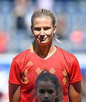 20190601 - LEUVEN , BELGIUM : Belgian Justine Vanhaevermaet pictured during the female soccer game between the Belgian Red Flames and Thailand , a friendly game as a preparation for Thailand for the World Championship in France 2019, Saturday 1 th June 2019 at OHL Stadion Den Dreef in Leuven , Belgium. PHOTO SPORTPIX.BE | DAVID CATRY