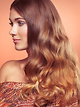 Beauty portrait of a woman with beautiful long wavy brown hair profile of face