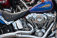 Harley Davidson Fatboy 90 cubic inches engine motorbike in South Beach, Miami, Florida, USA