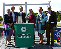 Sponsors with jockey of Time Change Richard Kingscote after winning The Smith & Williamson British EBF Fillies' Handicap (Class 3)  during Afternoon Racing at Salisbury Racecourse on 17th May 2018