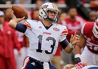 10/31/15<br /> Arkansas Democrat-Gazette/STEPHEN B. THORNTON<br /> UT Martin's quarterback Jarod Neal throws in the first quarter during their game Saturday in Fayetteville.