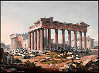 BNPS.co.uk (01202 558833)<br /> Pic: FineArtsMuseumSanFrancisco/BNPS<br /> <br /> Vital clues - 19th century watercolour of the Parthenon in Athens from the south east by Edward Dodwell 1805.<br /> <br /> The traditional view of the classical world full of austere white marble statue's and buildings has been transformed by a new book - that reveals the ancient world was in fact full of vibrant colours.<br /> <br /> Painstaking new research has discovered that most of the worlds most iconic art works from ancient Greece and Rome were in fact plastered with vibrant colours.<br /> <br /> However over the centuries the bright colours faded due to exposure to the elements and Renaissance maestros like Leonardo da Vinci and Michelangelo working in the 15th century believed it was the norm for sculptures to be white.<br /> <br /> Now, scientists are able to use ultra-violet photography to examine ancient pigment's and recreate how sculptures dating back to the Classical age would have looked.