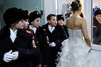 RUSSIA, Moscow, 12.2010. ©  Sergey Kozmin/EST&OST.The Moscow Girls Cadet Boarding School. The Russian winter ball takes place every year after Christmas. It gives a rare opportunity for the girls to meet boys from a nearby all-male boarding school called Moscow Cossacks Cadet Corps.
