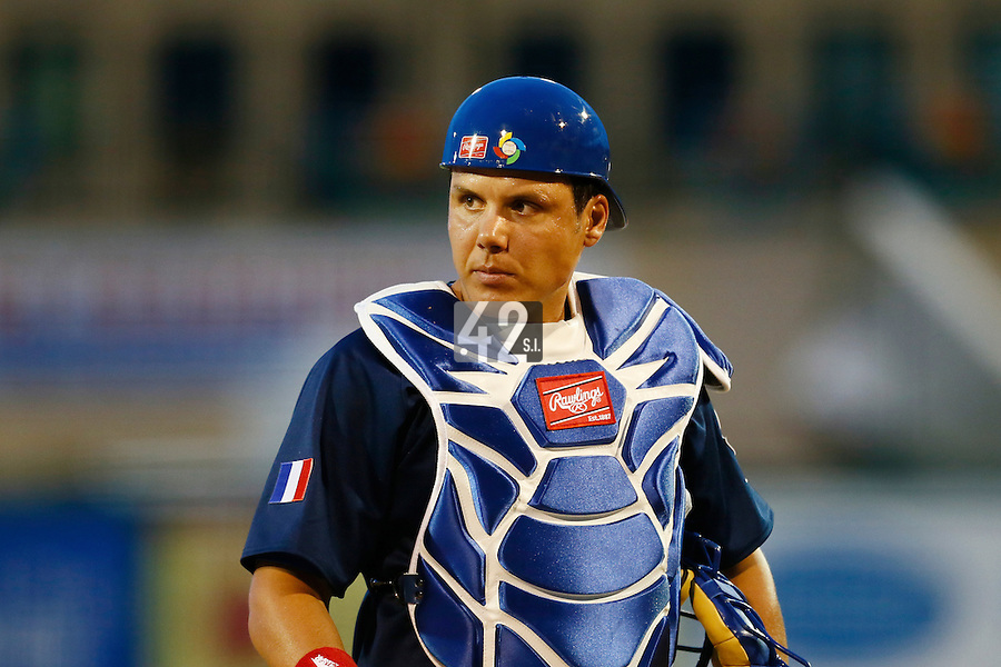 20 September 2012: Catcher Boris Marche walks back to home plate during Spain 8-0 win over France, at the 2012 World Baseball Classic Qualifier round, in Jupiter, Florida, USA.