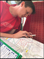 BNPS.co.uk (01202 558833)<br /> Pic: AllTheStations/BNPS<br /> <br /> Planning the route to take.<br /> <br /> A pair of railway enthusiasts are on an epic train journey to become the first people to visit every station in Britain. <br /> <br /> Eccentrics Geoff Marshall, 44, and Vicki Pipe, 34, are three weeks into the adventure, which will see them visit 2,563 stations in just three months. <br /> <br /> The couple of seven years from London began in Penzance and have already visited 750 stations, covering the entire South, South West and much of London. <br /> <br /> After visiting an average of 30 stations per day their trip will conclude in August in Thurso, the British mainland's most northernmost town.