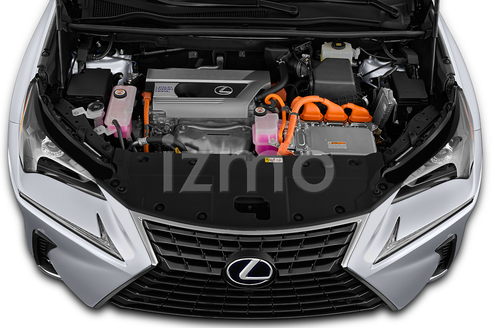 Car Stock 2019 Lexus NX 300h 5 Door SUV Engine  high angle detail view