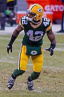 Green Bay Packers safety Morgan Burnett (42) prior to a game against the New York Giants on January 8th, 2017 at Lambeau Field in Green Bay, Wisconsin.  Green Bay defeated New York 38-13. (Brad Krause/Krause Sports Photography)