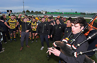Yellows players and supporters celebrate winning the 2019 Manawatu premier club rugby Hankins Sheild final match between Varsity and Feilding Yellows at CET Arena in Palmerston North, New Zealand on Saturday, 13 July 2019. Photo: Dave Lintott / lintottphoto.co.nz
