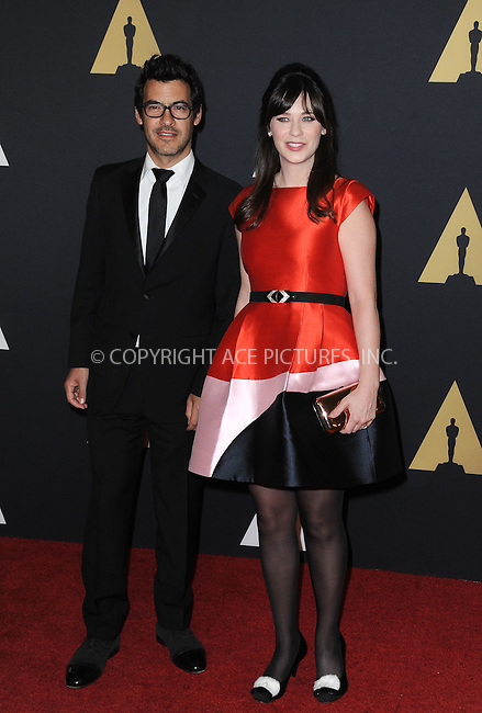 WWW.ACEPIXS.COM<br /> <br /> November 14 2015, LA<br /> <br /> Jacob Pechenik (L) and Zooey Deschanel arriving at the Academy of Motion Picture Arts and Sciences' 7th Annual Governors Awards at The Ray Dolby Ballroom at the Hollywood &amp; Highland Center on November 14, 2015 in Hollywood, California<br /> <br /> <br /> By Line: Peter West/ACE Pictures<br /> <br /> <br /> ACE Pictures, Inc.<br /> tel: 646 769 0430<br /> Email: info@acepixs.com<br /> www.acepixs.com