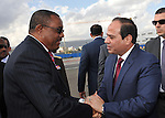 Egyptian President Abdel Fattah al-Sisi leaves the Ethiopia's capital Addis Ababa, March 25, 2015. Photo by Egyptian presidency