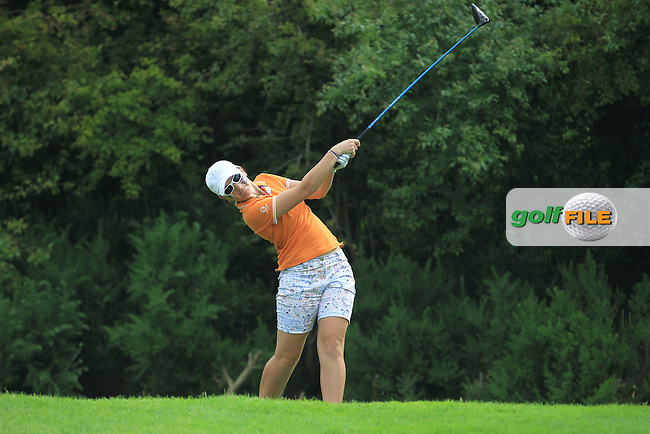 Charlotte Thomas on the 9th tee during the Saturday Mourning Fourbsomes of the 2016 Curtis Cup at Dun Laoghaire Golf Club on Saturday 11th June 2016.<br /> Picture:  Golffile | Thos Caffrey