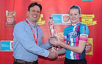 Picture by Allan McKenzie SWpix.com - 03/05/2018 - Cycling - 2018 Asda Women's Tour de Yorkshire - Stage 1: Beverley to Doncaster - Jaden Weldtite's Georgia Bullard receives the Mugshot Youngest British Women's Rider trophy.