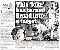 Daily Mail 22-Aug-2013 - 'Hit parade: Shane Watson survived Broad's bouncer to score a ton yesterday' - Photo by Rob Newell